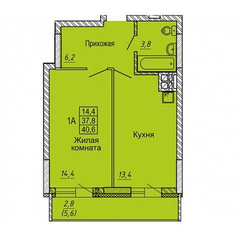 Вариант №5648, 1-комнатная квартира в жилом комплексе