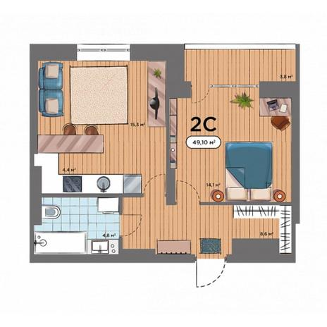 Вариант №6576, 2-комнатная квартира в жилом комплексе