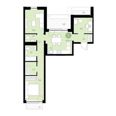 Вариант №4675, 3-комнатная квартира в жилом комплексе