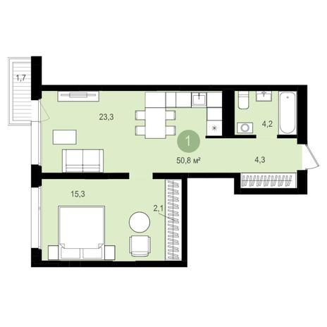 Вариант №4358, 2-комнатная квартира в жилом комплексе