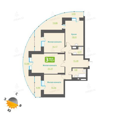 Вариант №491, 4-комнатная квартира в жилом комплексе Марсель