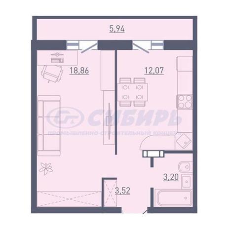 Вариант №3735, 1-комнатная квартира в жилом комплексе Акварельный 3.0