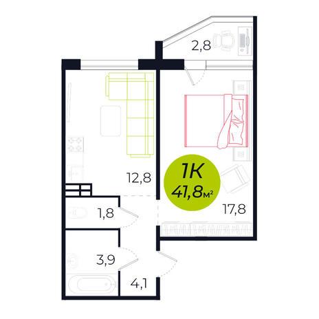 Вариант №4239, 1-комнатная квартира в жилом комплексе Весна