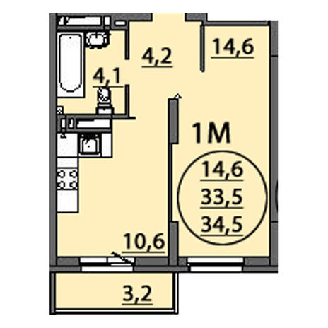 Вариант №2504, 1-комнатная квартира в жилом комплексе