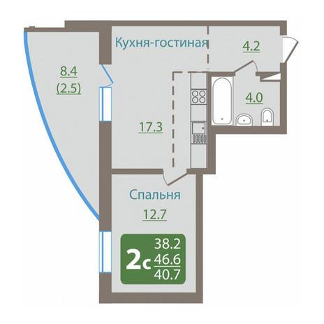 Вариант №3040, 2-комнатная квартира в жилом комплексе