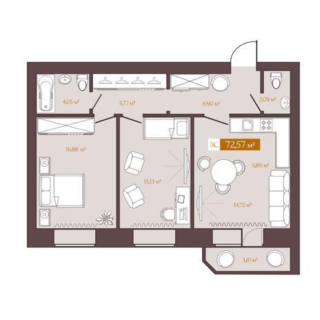 Вариант №5619, 3-комнатная квартира в жилом комплексе
