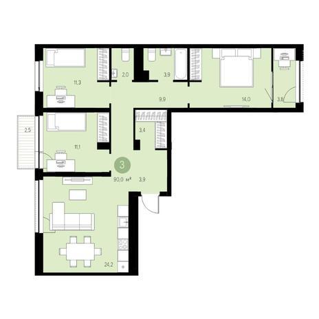 Вариант №4719, 4-комнатная квартира в жилом комплексе Бульварный переулок
