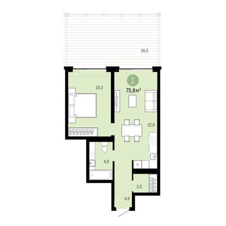 Вариант №6397, 2-комнатная квартира в жилом комплексе