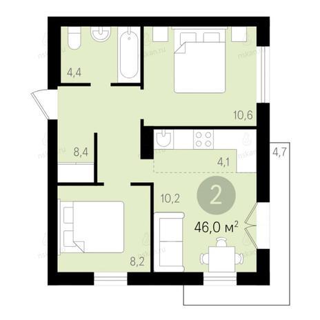 Вариант №2680, 2-комнатная квартира в жилом комплексе