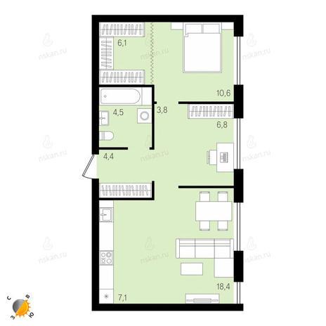 Вариант №2146, 2-комнатная квартира в жилом комплексе