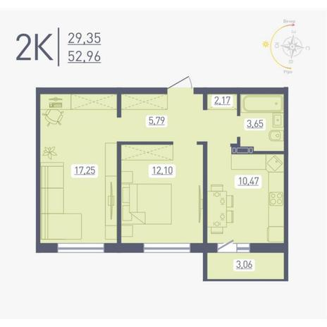 Вариант №4870, 2-комнатная квартира в жилом комплексе Радуга Сибири