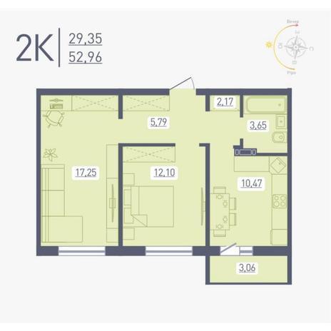 Вариант №4870, 2-комнатная квартира в жилом комплексе