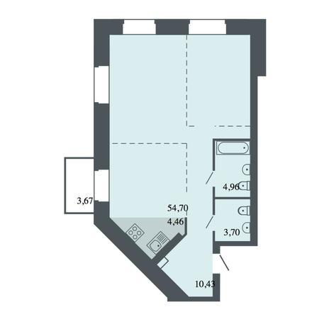 Вариант №4482, 3-комнатная квартира в жилом комплексе