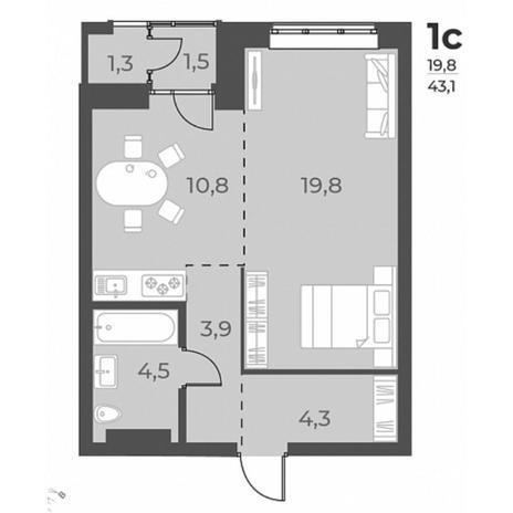 Вариант №5817, 1-комнатная квартира в жилом комплексе