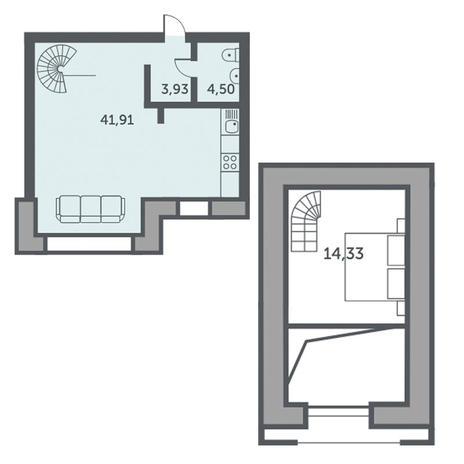 Вариант №3510, 1-комнатная квартира в жилом комплексе Спектр