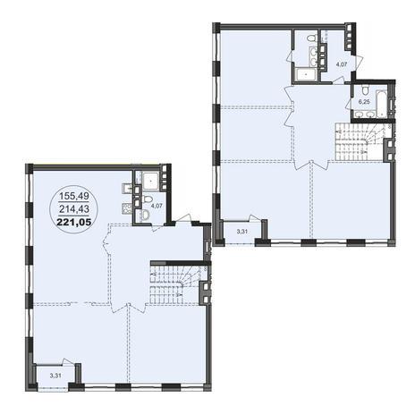 Вариант №3715, 4-комнатная квартира в жилом комплексе