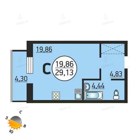 Вариант №1376, 1-комнатная квартира в жилом комплексе Семьи Шамшиных 55