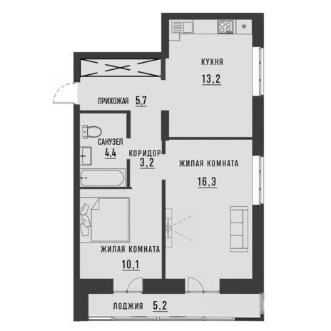 Вариант №4187, 2-комнатная квартира в жилом комплексе Заельцовский