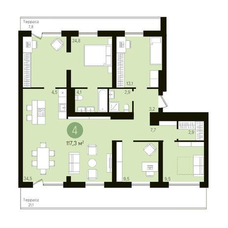 Вариант №3632, 4-комнатная квартира в жилом комплексе