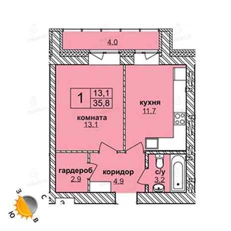 Вариант №1613, 1-комнатная квартира в жилом комплексе