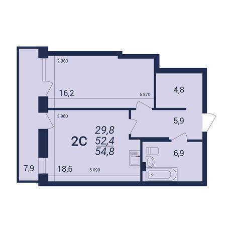 Вариант №3925, 2-комнатная квартира в жилом комплексе NOVA-дом