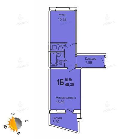 Вариант №727, 1-комнатная квартира в жилом комплексе Софийский квартал
