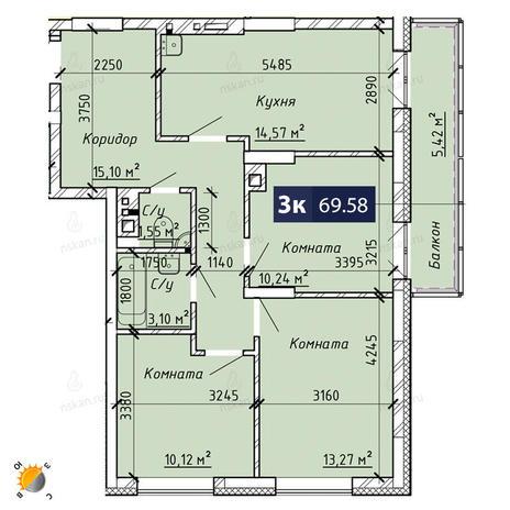 Вариант №1865, 4-комнатная квартира в жилом комплексе На Лежена