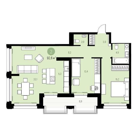 Вариант №5452, 3-комнатная квартира в жилом комплексе