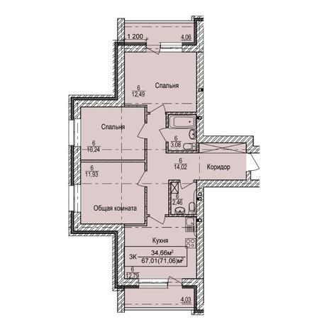 Вариант №5394, 3-комнатная квартира в жилом комплексе Ясный берег
