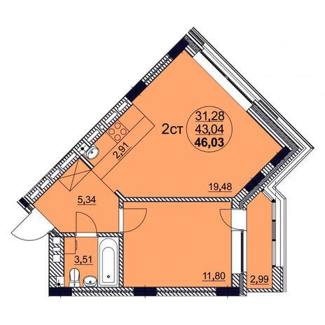 Вариант №3764, 2-комнатная квартира в жилом комплексе