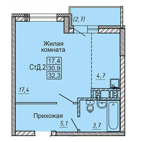 Вариант №4125, 1-комнатная квартира в жилом комплексе Новые Матрешки