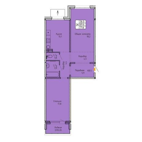 Вариант №5757, 2-комнатная квартира в жилом комплексе