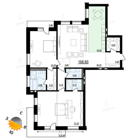 Вариант №883, 3-комнатная квартира в жилом комплексе