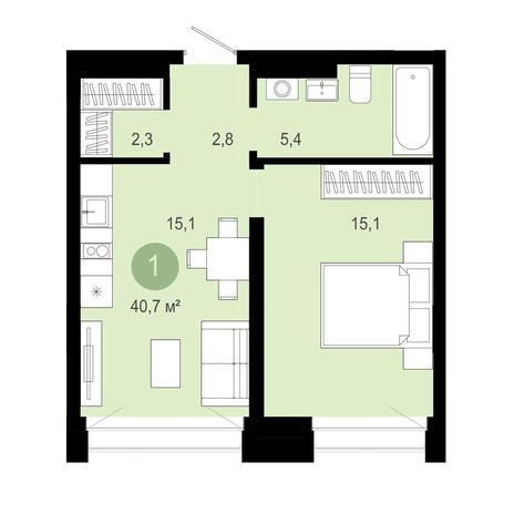 Вариант №4023, 2-комнатная квартира в жилом комплексе