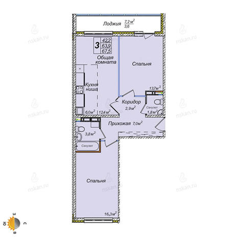 Вариант №2389, 3-комнатная квартира в жилом комплексе