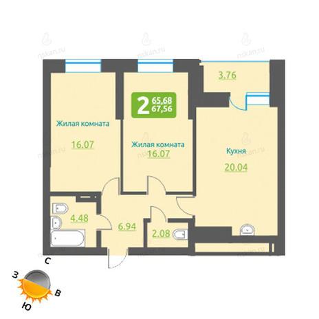 Вариант №1227, 3-комнатная квартира в жилом комплексе Марсель