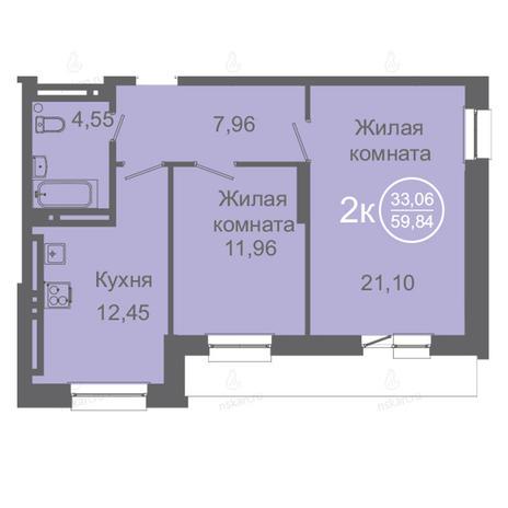 Вариант №2423, 2-комнатная квартира в жилом комплексе Дианит