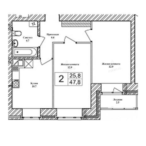 Вариант №2468, 2-комнатная квартира в жилом комплексе Солнечные часы