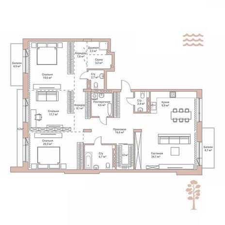 Вариант №2883, 4-комнатная квартира в жилом комплексе Flora & Fauna