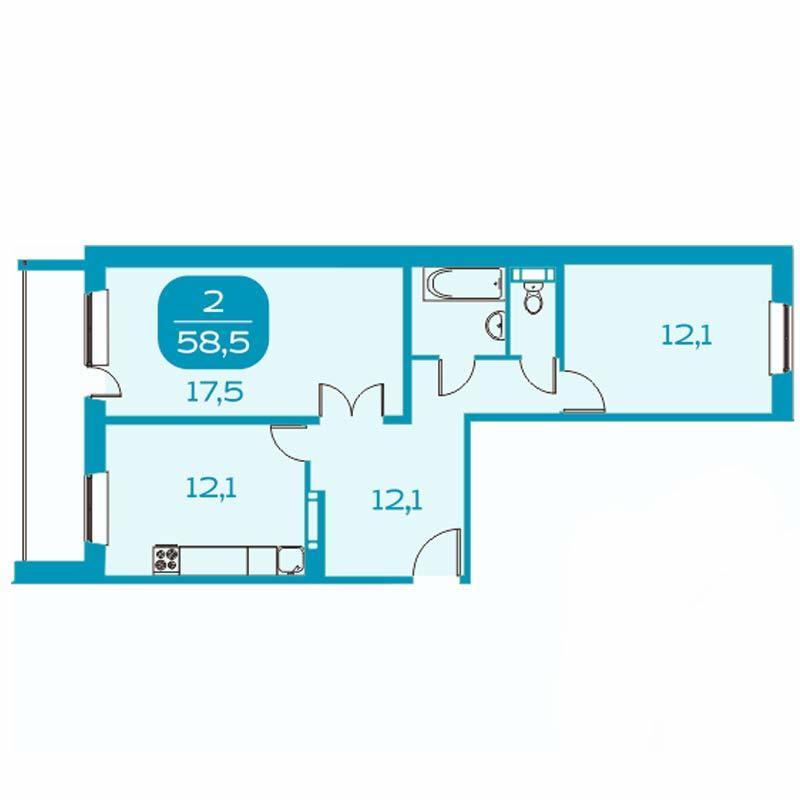 Планировка 2-комнатная площадью 58.5 м<sup>2</sup> в ЖК Аквамарин