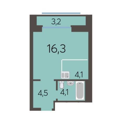 Вариант №5778, 1-комнатная квартира в жилом комплексе