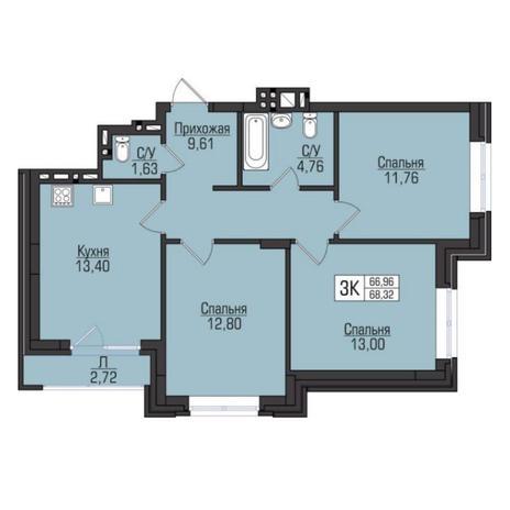 Вариант №5097, 3-комнатная квартира в жилом комплексе