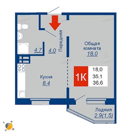 Вариант №2542, 1-комнатная квартира в жилом комплексе
