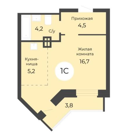 Вариант №5683, 1-комнатная квартира в жилом комплексе