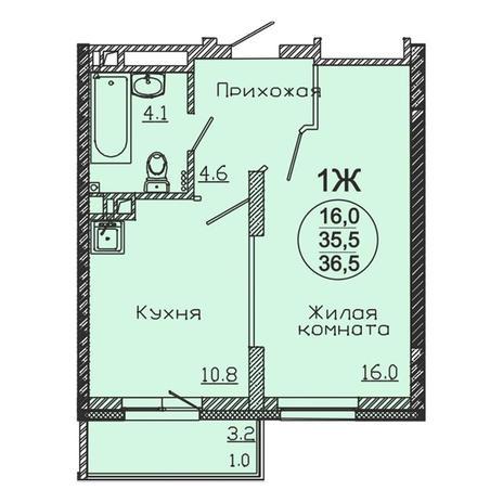 Вариант №3057, 1-комнатная квартира в жилом комплексе