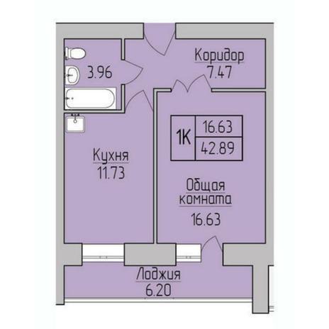 Вариант №5372, 1-комнатная квартира в жилом комплексе