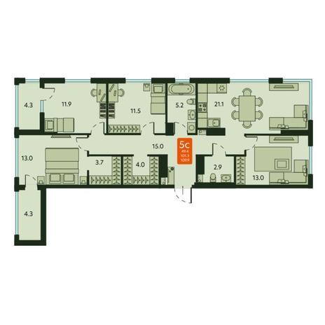 Вариант №6120, 5-комнатная квартира в жилом комплексе