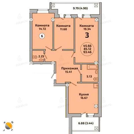 Вариант №2000, 4-комнатная квартира в жилом комплексе Ясный берег