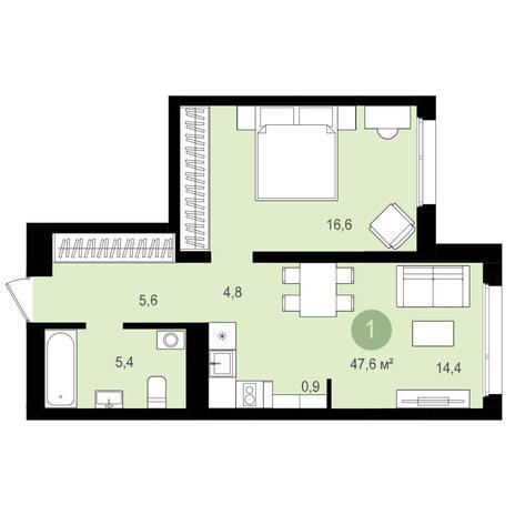 Вариант №4164, 2-комнатная квартира в жилом комплексе Авиатор