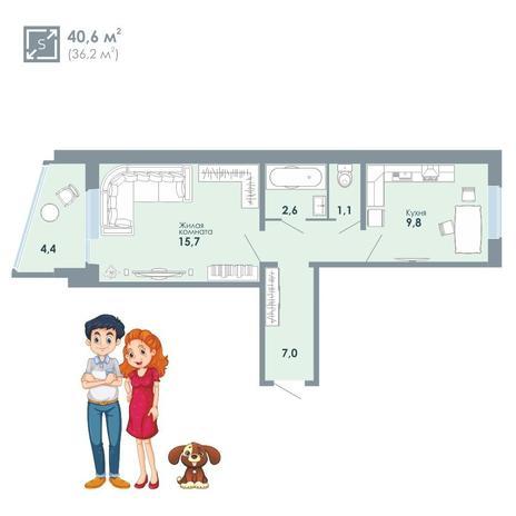 Вариант №5138, 1-комнатная квартира в жилом комплексе